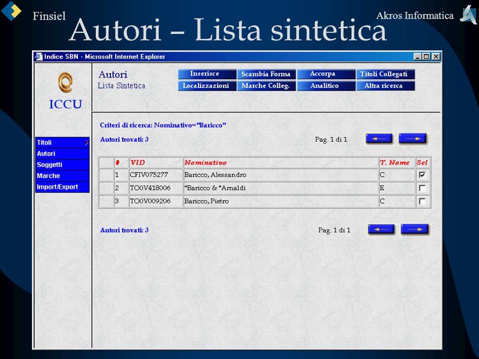 Autori – Lista sintetica