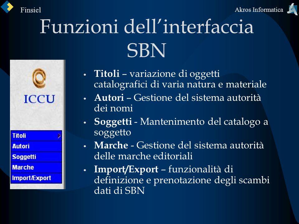 Funzioni dell'interfaccia SBN