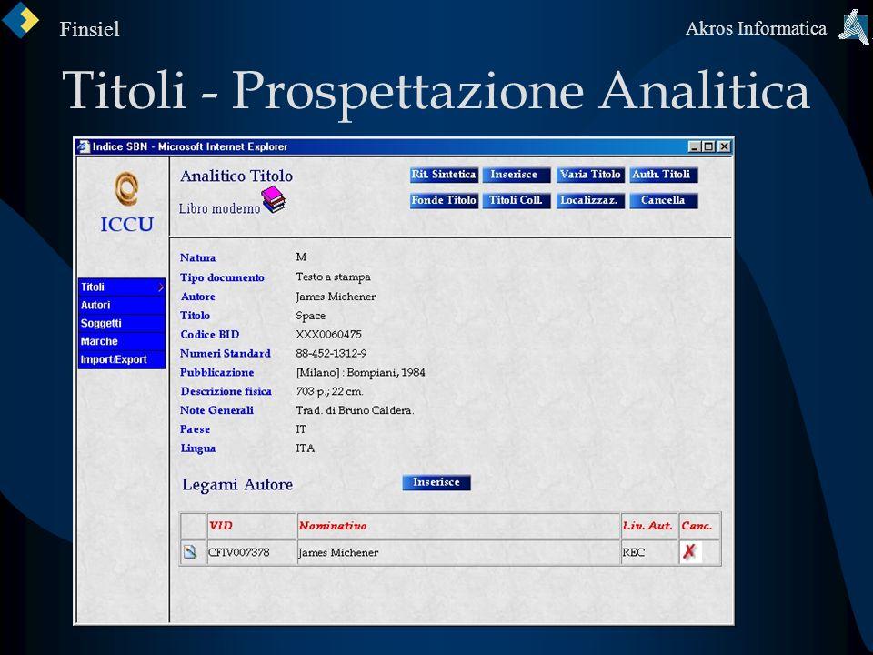 Titoli - Prospettazione Analitica