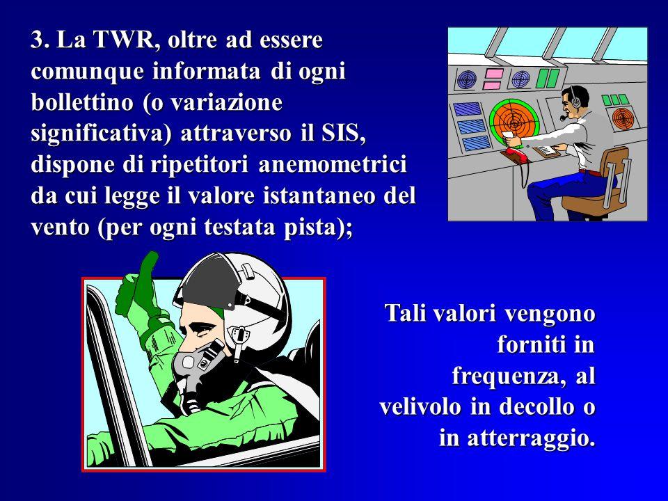 3. La TWR, oltre ad essere comunque informata di ogni bollettino (o variazione significativa) attraverso il SIS, dispone di ripetitori anemometrici da cui legge il valore istantaneo del vento (per ogni testata pista);