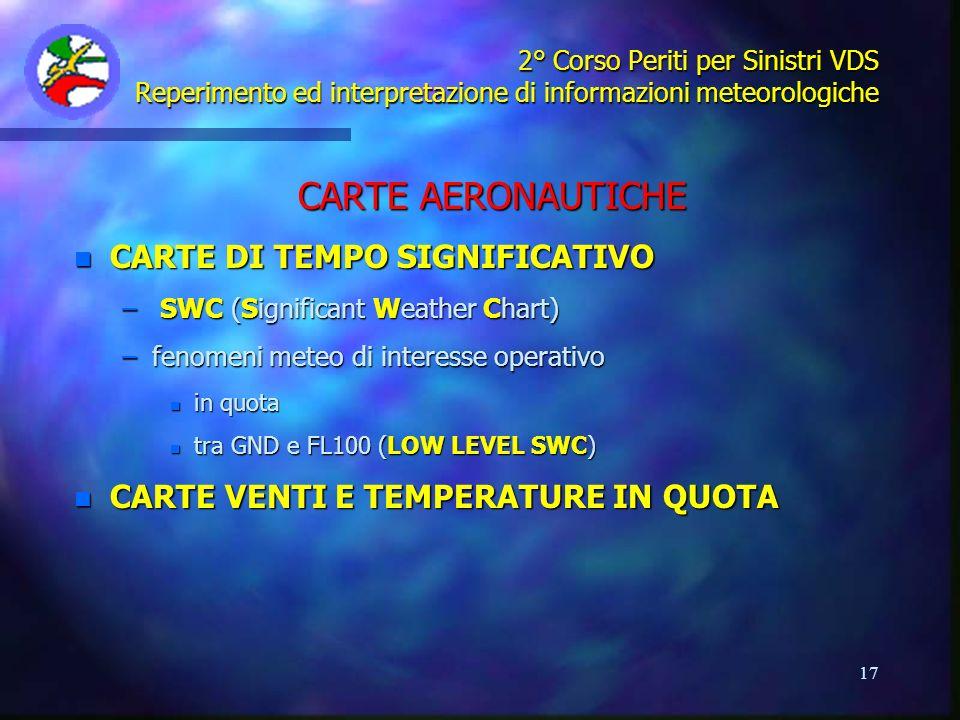 CARTE AERONAUTICHE CARTE DI TEMPO SIGNIFICATIVO