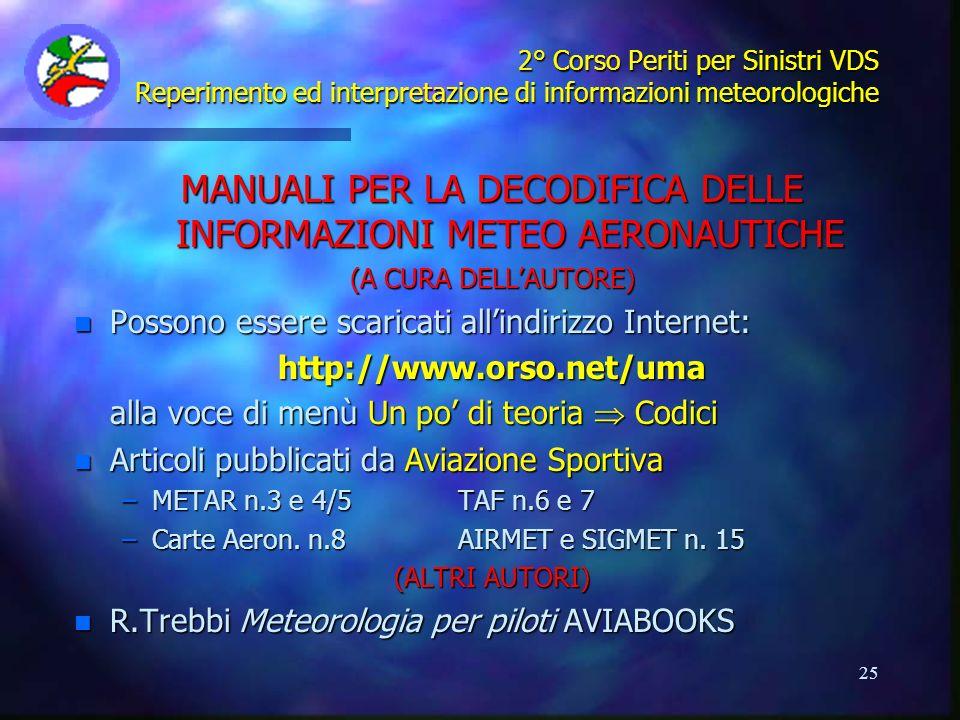 MANUALI PER LA DECODIFICA DELLE INFORMAZIONI METEO AERONAUTICHE