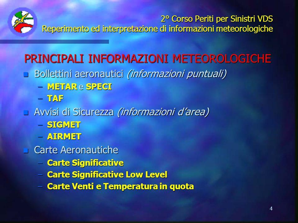 PRINCIPALI INFORMAZIONI METEOROLOGICHE