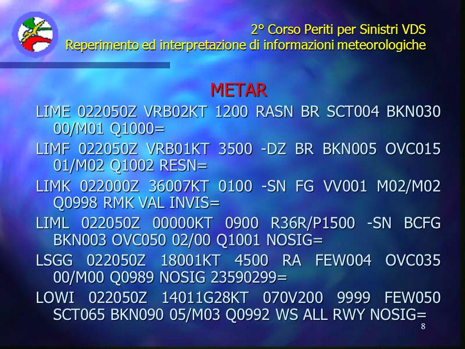 METAR LIME 022050Z VRB02KT 1200 RASN BR SCT004 BKN030 00/M01 Q1000=