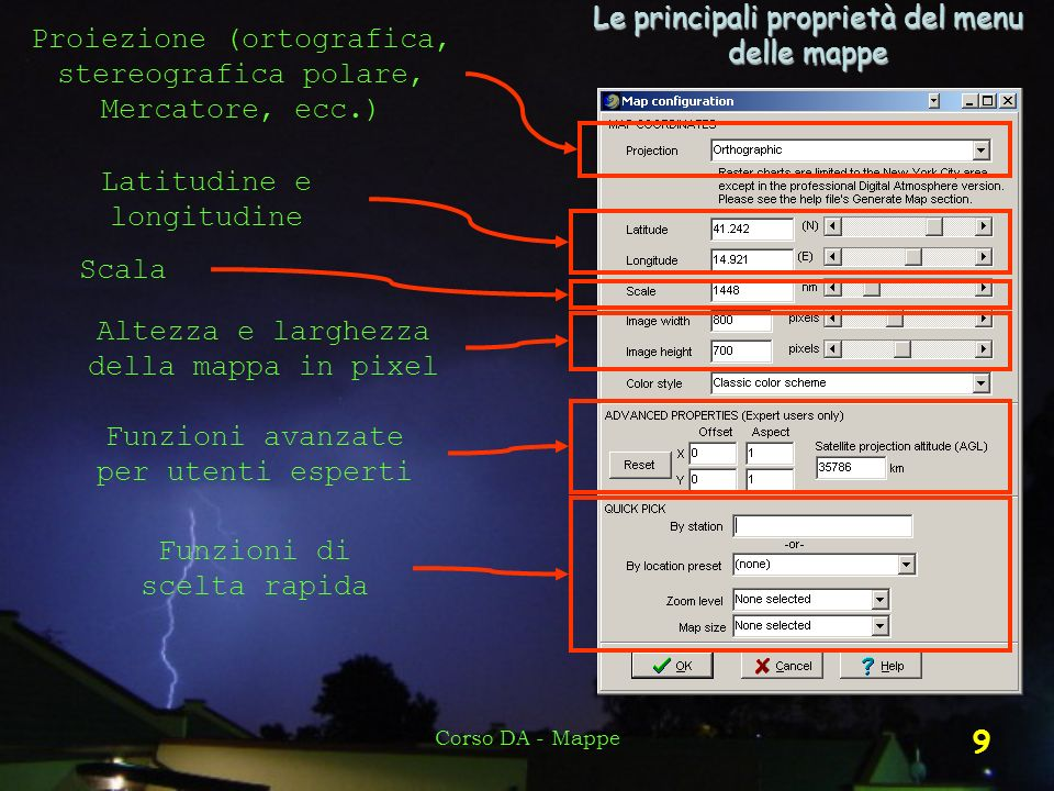 Le principali proprietà del menu delle mappe