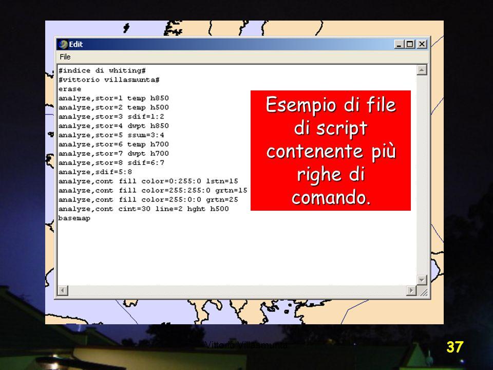 Esempio di file di script contenente più righe di comando.