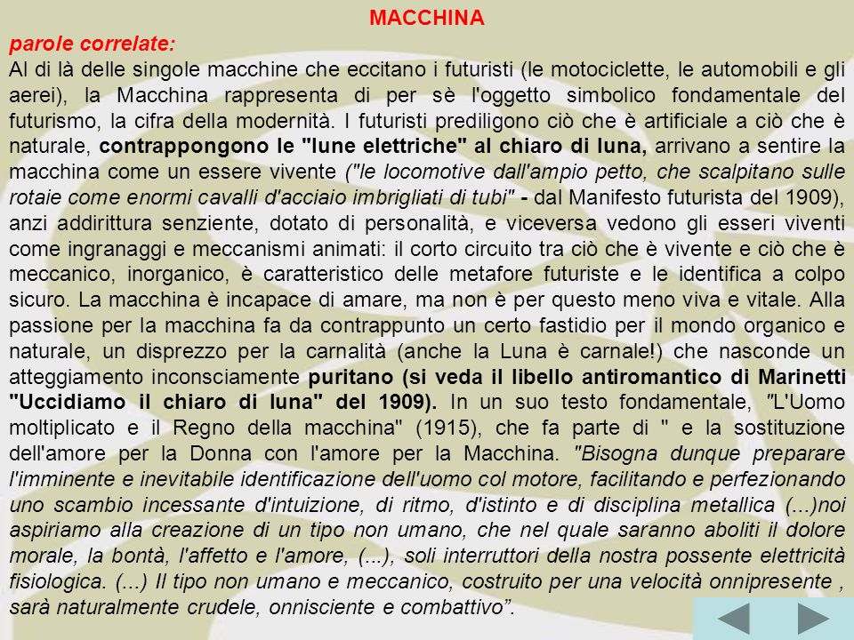 MACCHINA parole correlate: