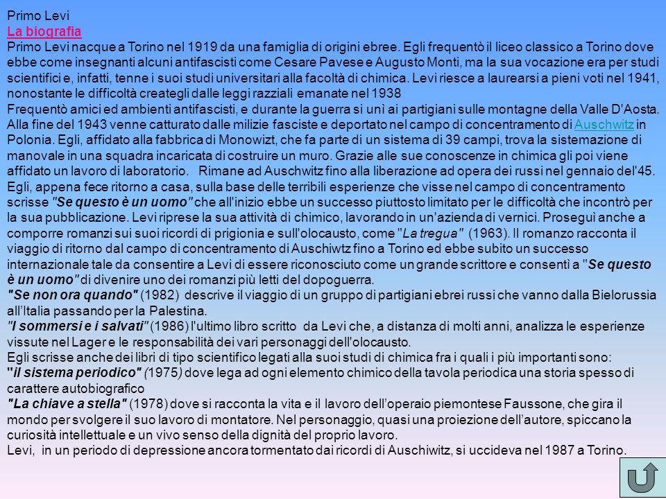 Primo Levi La biografia.