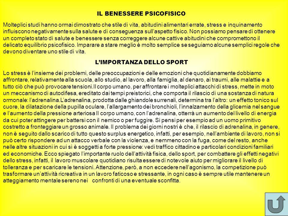 IL BENESSERE PSICOFISICO L'IMPORTANZA DELLO SPORT
