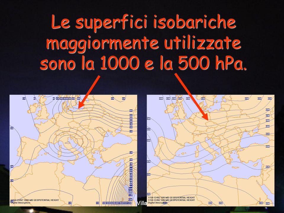 Le superfici isobariche maggiormente utilizzate sono la 1000 e la 500 hPa.