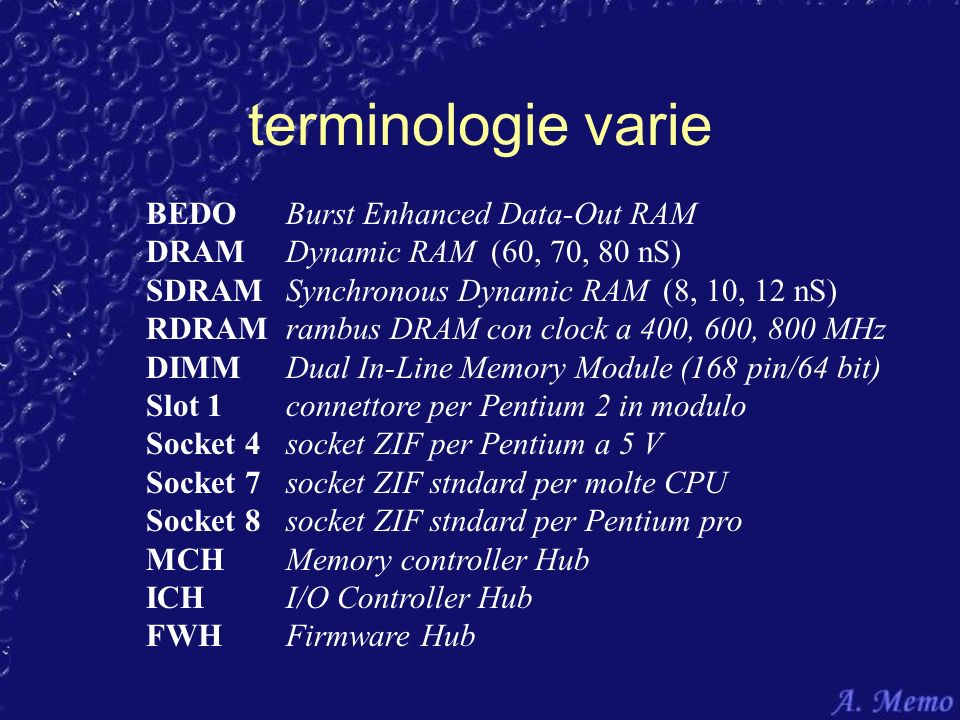 terminologie varie BEDO Burst Enhanced Data-Out RAM