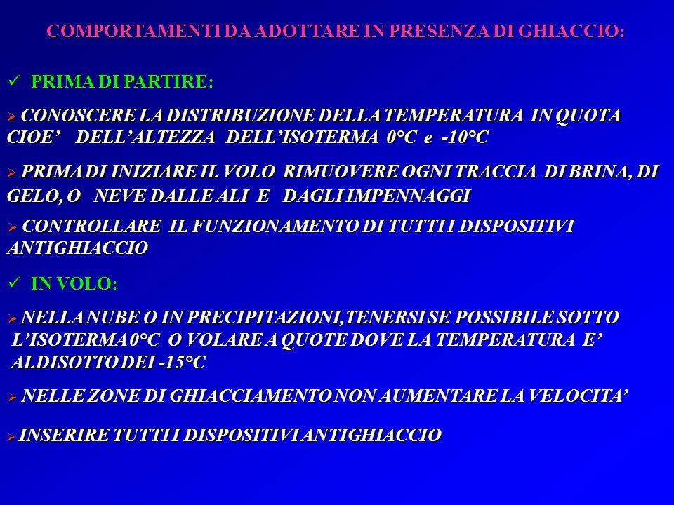 COMPORTAMENTI DA ADOTTARE IN PRESENZA DI GHIACCIO: