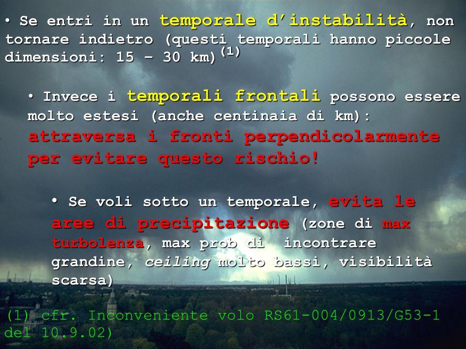 Se entri in un temporale d'instabilità, non tornare indietro (questi temporali hanno piccole dimensioni: 15 – 30 km)(1)