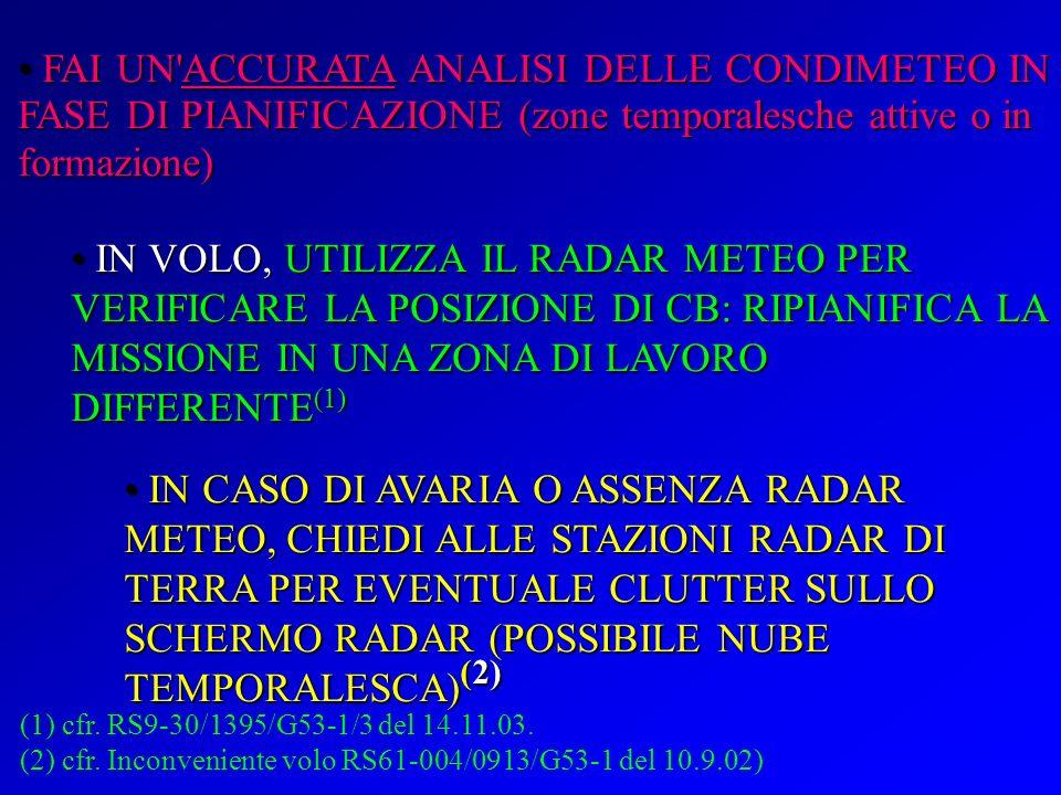 FAI UN ACCURATA ANALISI DELLE CONDIMETEO IN FASE DI PIANIFICAZIONE (zone temporalesche attive o in formazione)
