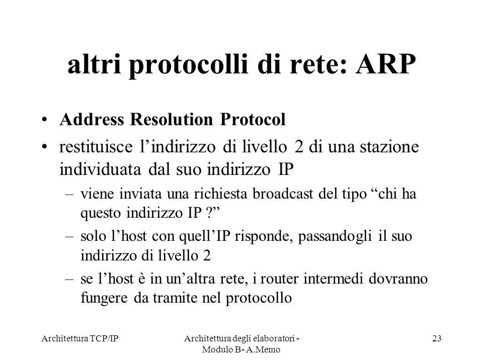 altri protocolli di rete: ARP