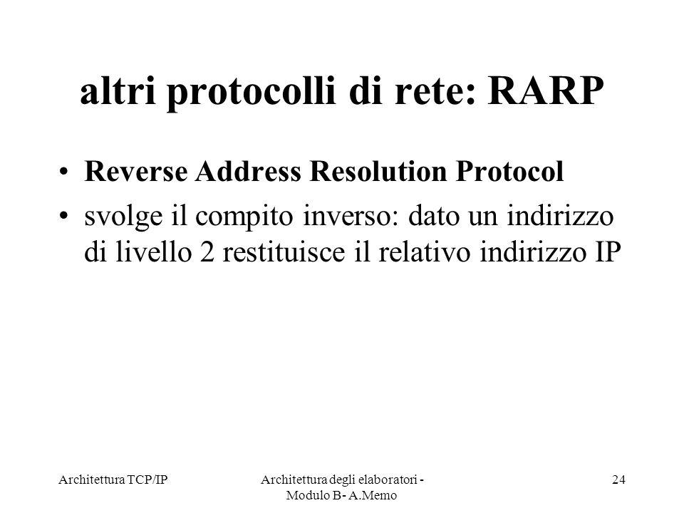 altri protocolli di rete: RARP