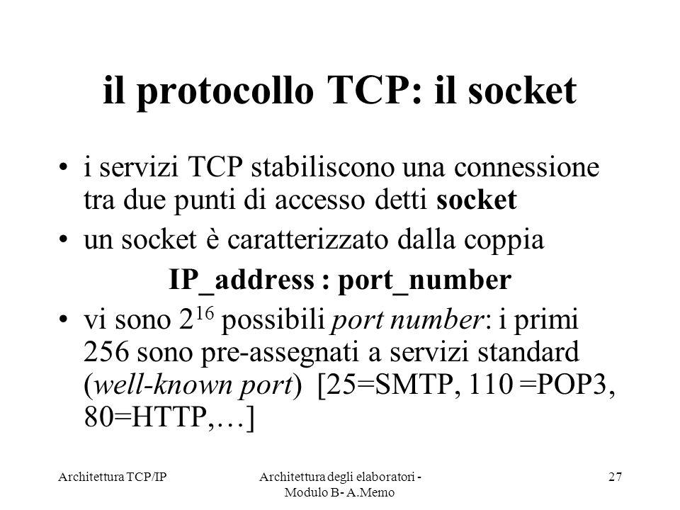 il protocollo TCP: il socket