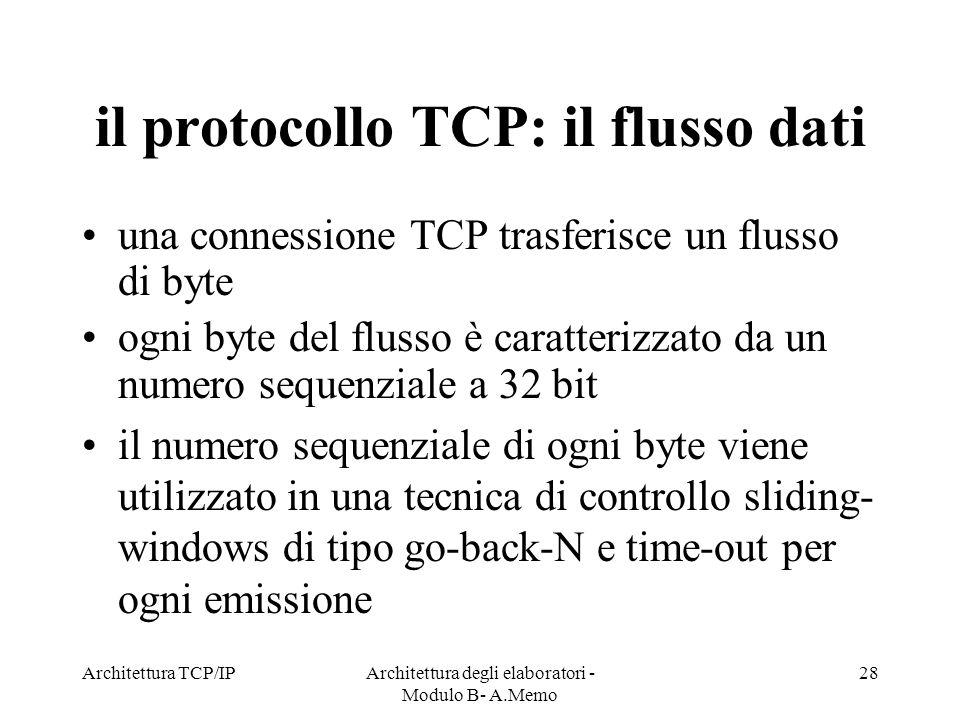 il protocollo TCP: il flusso dati
