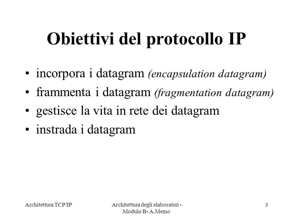 Obiettivi del protocollo IP