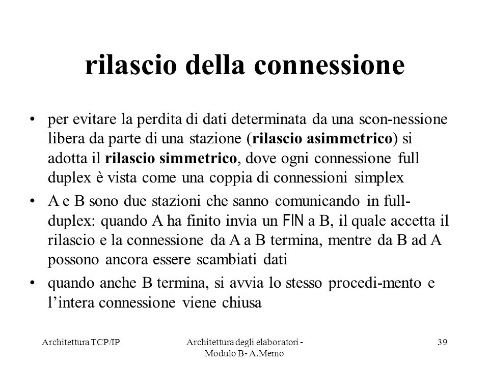 rilascio della connessione