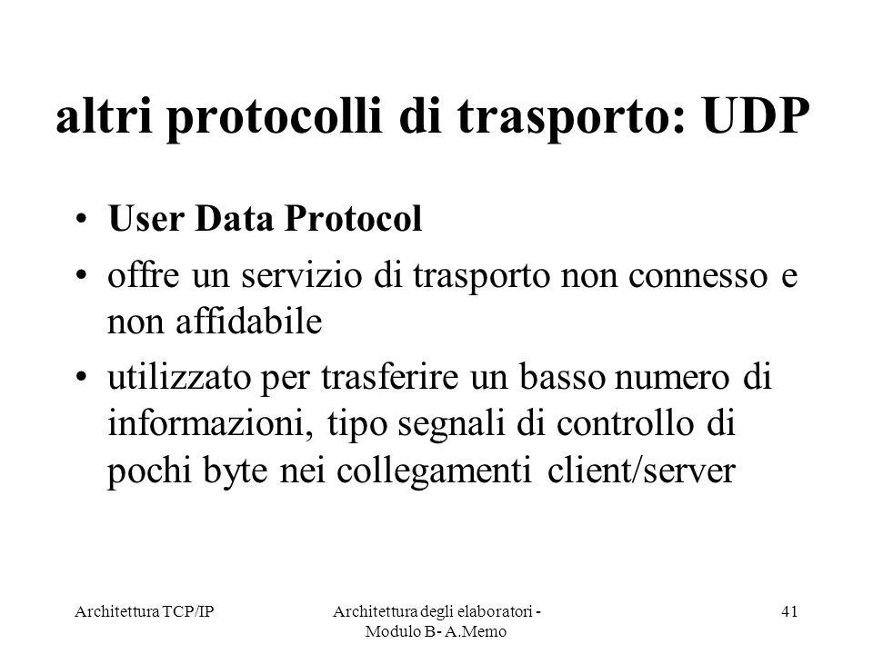 altri protocolli di trasporto: UDP