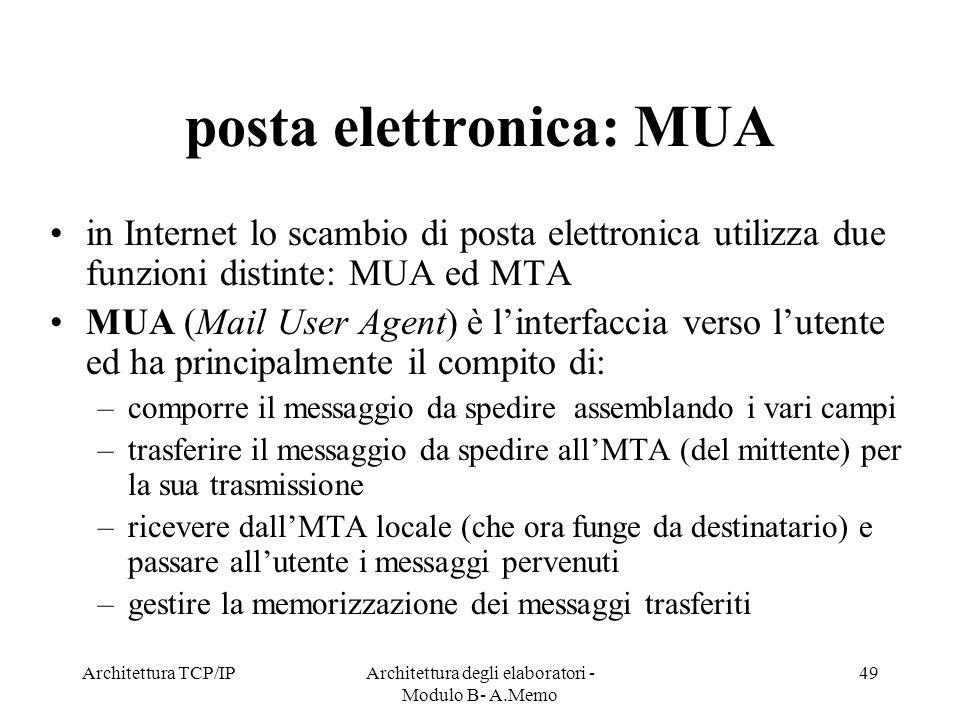posta elettronica: MUA