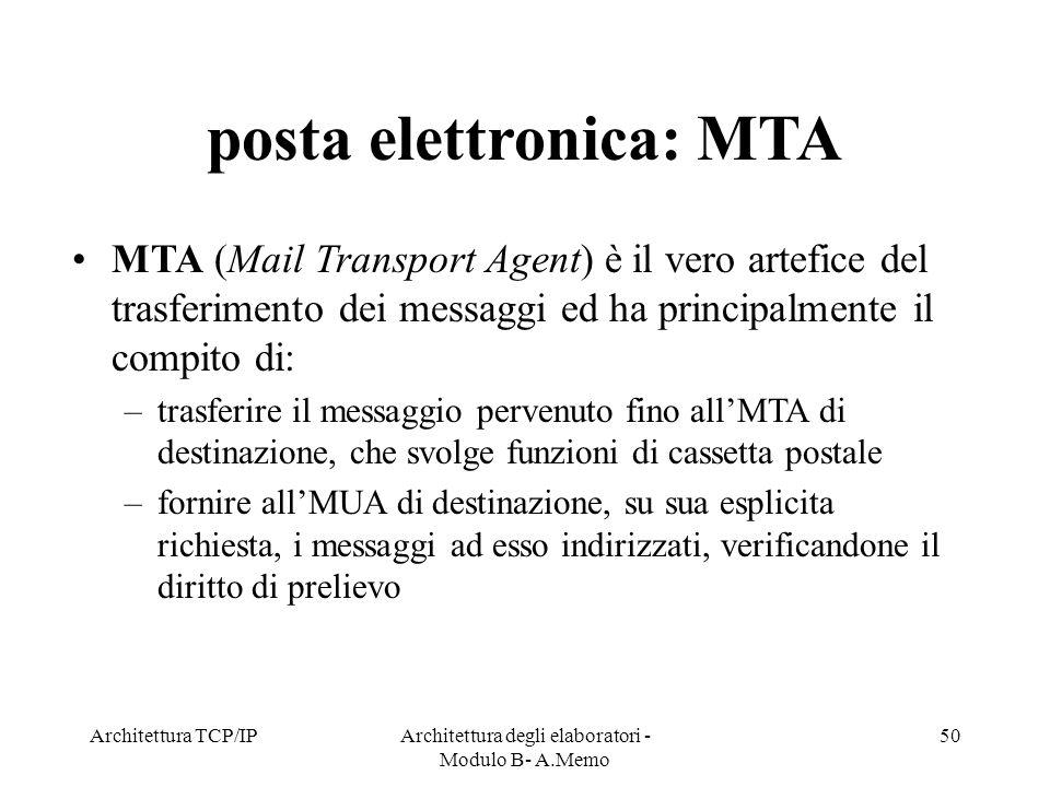 posta elettronica: MTA