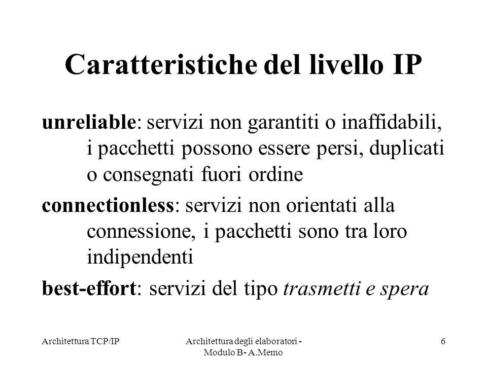 Caratteristiche del livello IP