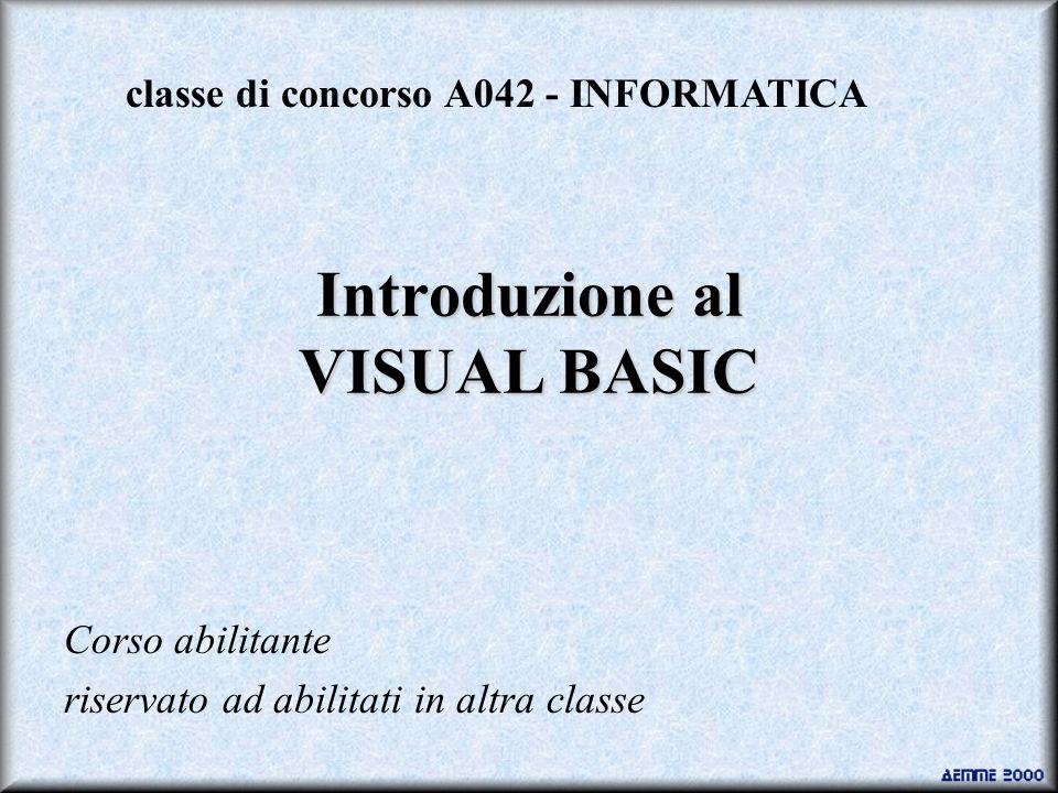 Introduzione al VISUAL BASIC