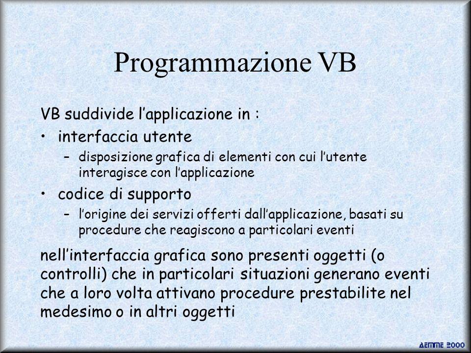 Programmazione VB VB suddivide l'applicazione in : interfaccia utente