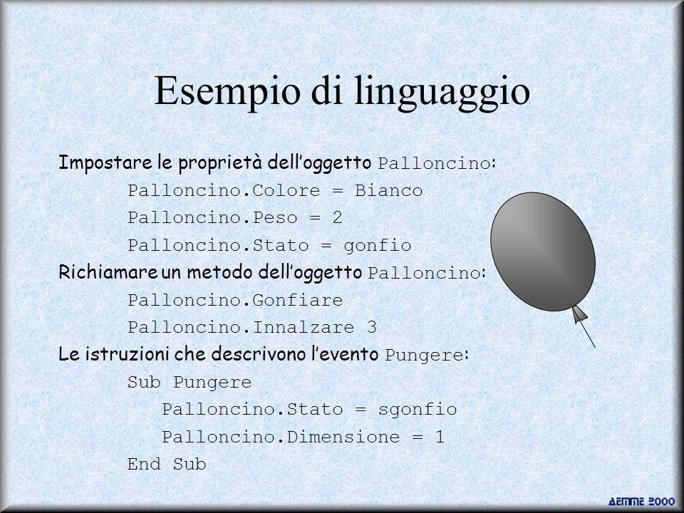 Esempio di linguaggio Impostare le proprietà dell'oggetto Palloncino: