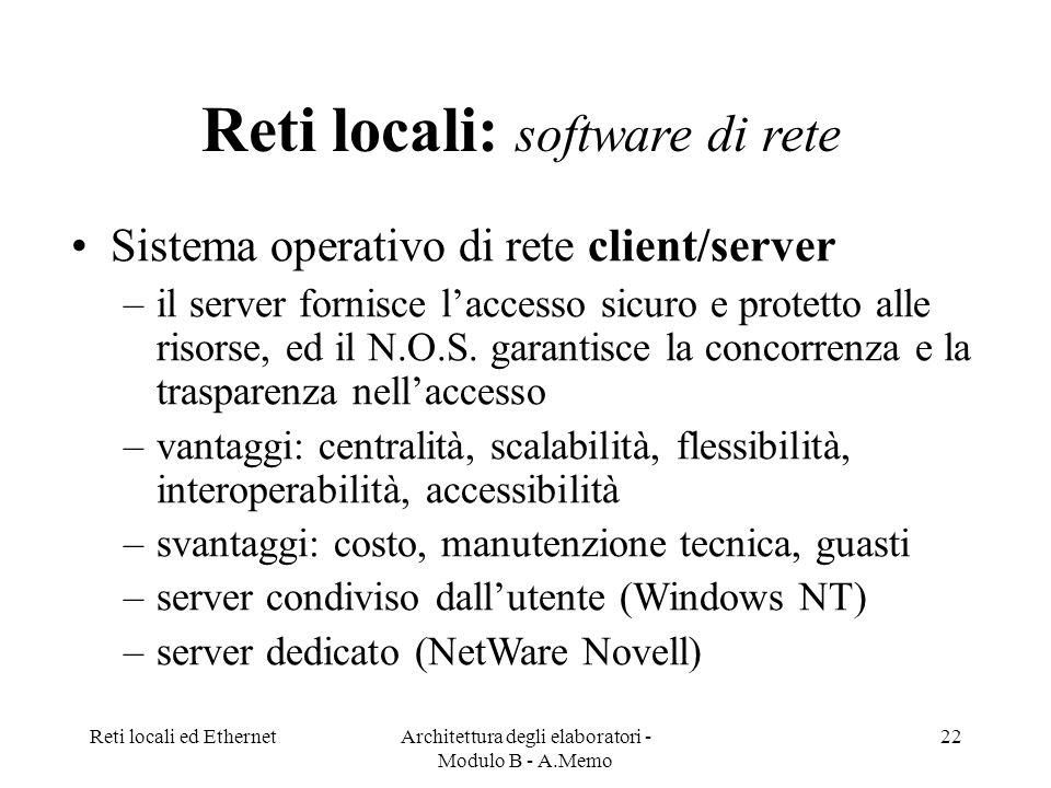 Reti locali: software di rete