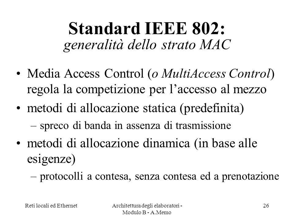 Standard IEEE 802: generalità dello strato MAC