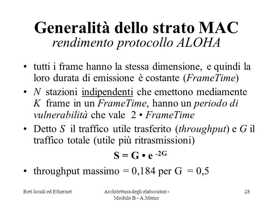 Generalità dello strato MAC rendimento protocollo ALOHA