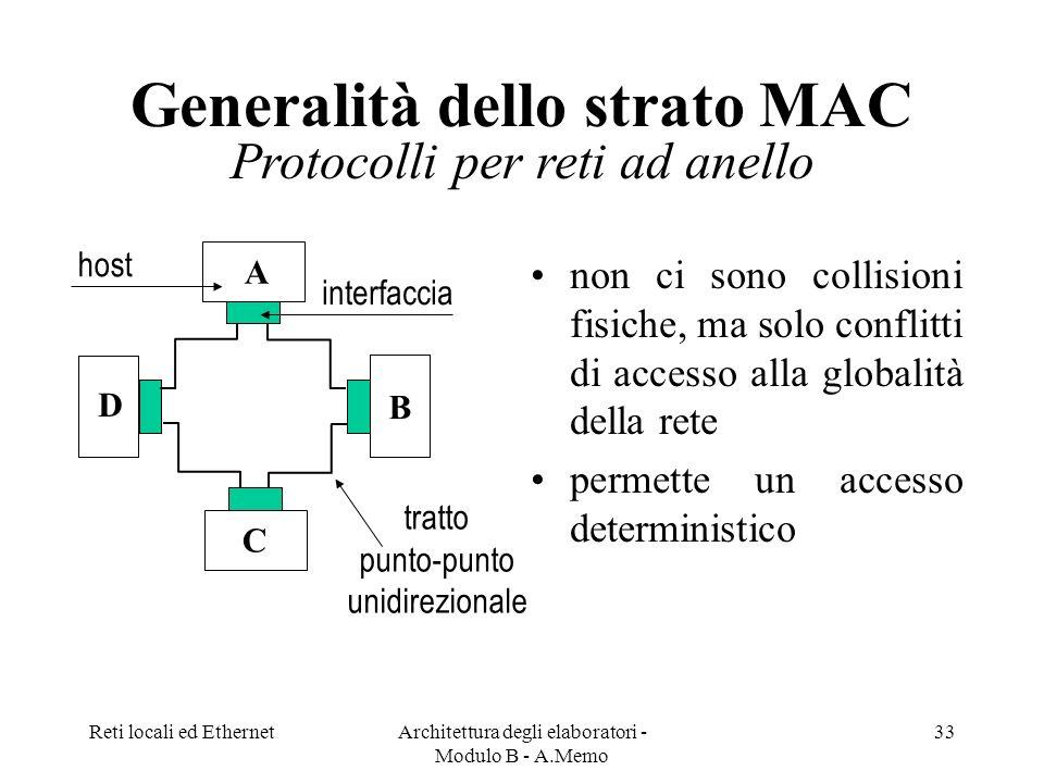 Generalità dello strato MAC Protocolli per reti ad anello