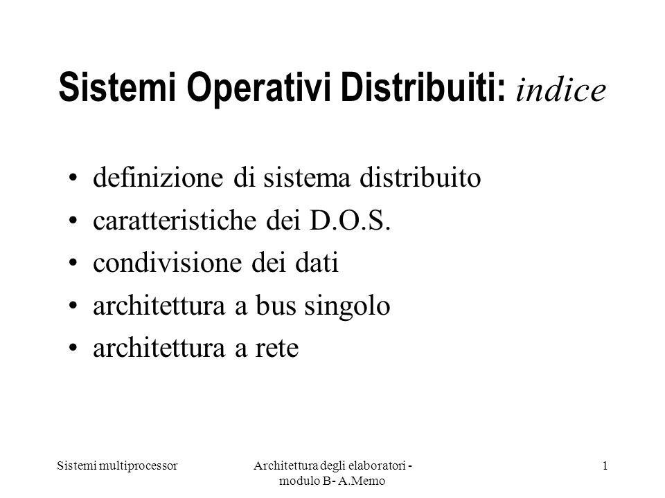Sistemi Operativi Distribuiti: indice