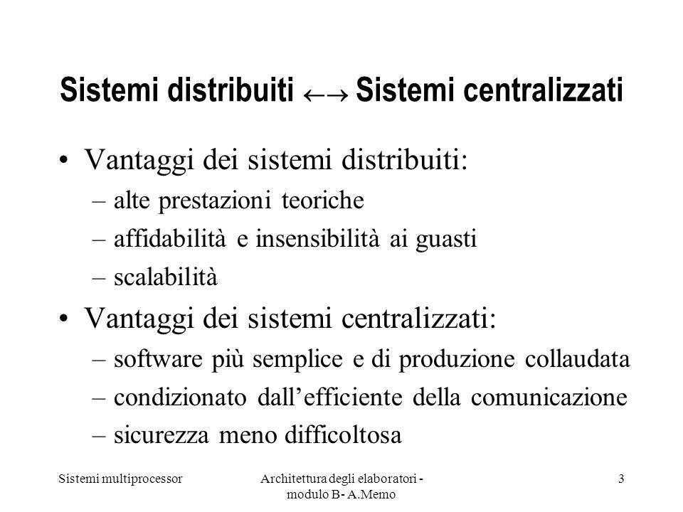 Sistemi distribuiti  Sistemi centralizzati