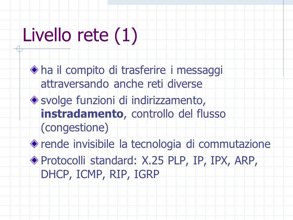 Livello rete (1) ha il compito di trasferire i messaggi attraversando anche reti diverse.