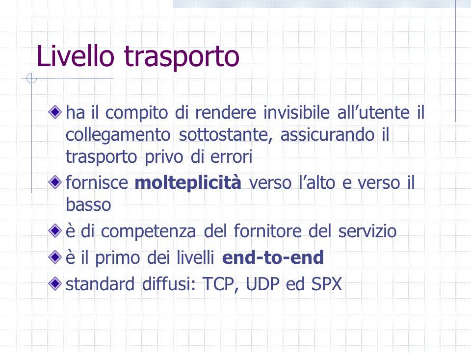 Livello trasporto ha il compito di rendere invisibile all'utente il collegamento sottostante, assicurando il trasporto privo di errori.