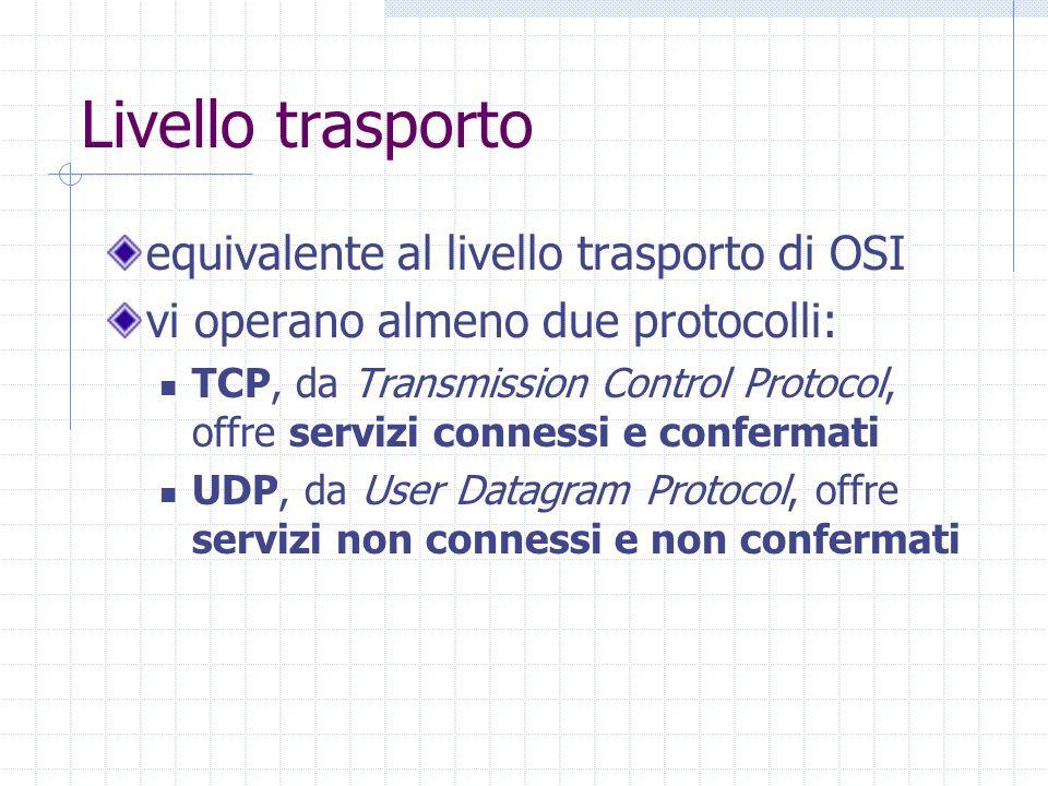 Livello trasporto equivalente al livello trasporto di OSI