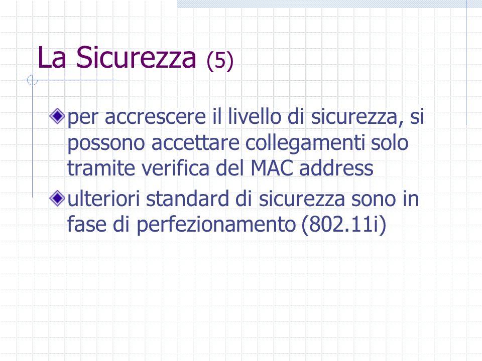 La Sicurezza (5) per accrescere il livello di sicurezza, si possono accettare collegamenti solo tramite verifica del MAC address.
