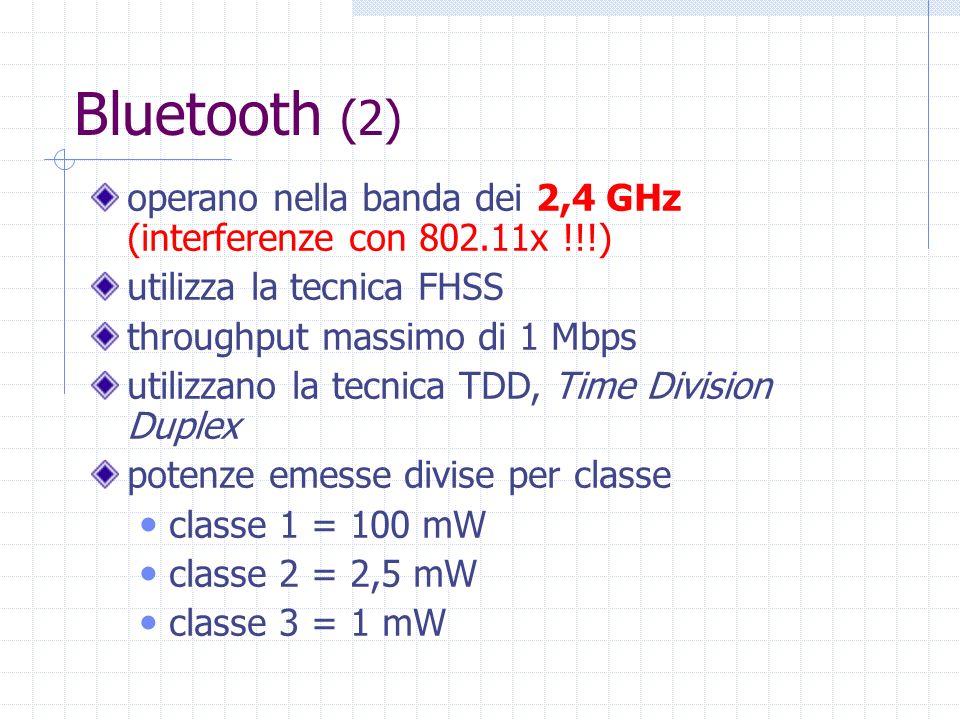 Bluetooth (2) operano nella banda dei 2,4 GHz (interferenze con 802.11x !!!) utilizza la tecnica FHSS.