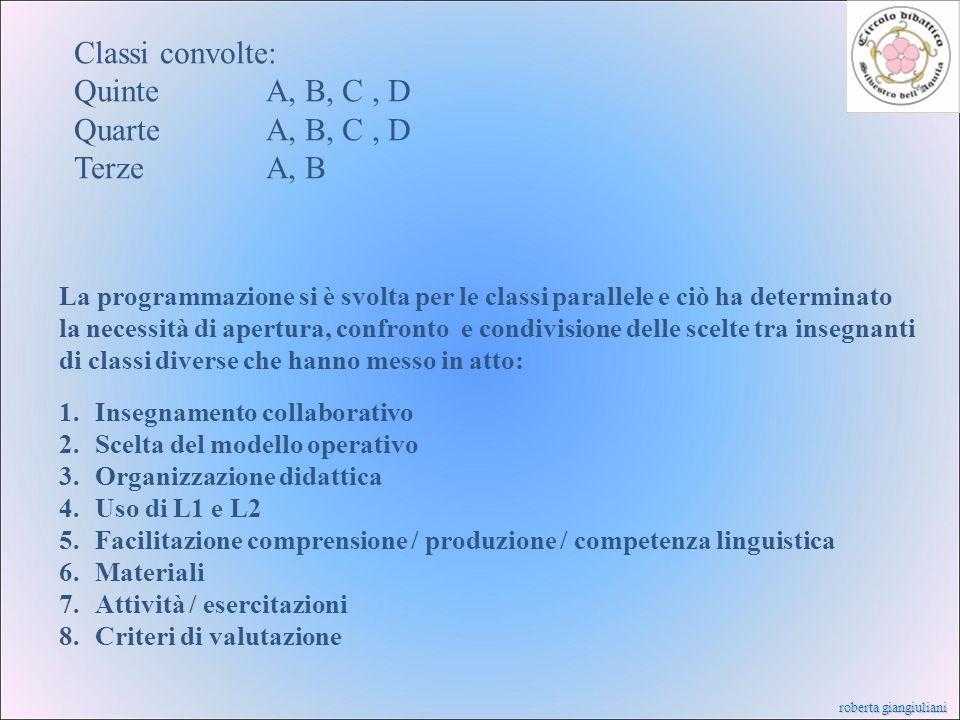 Classi convolte: Quinte A, B, C , D Quarte A, B, C , D Terze A, B