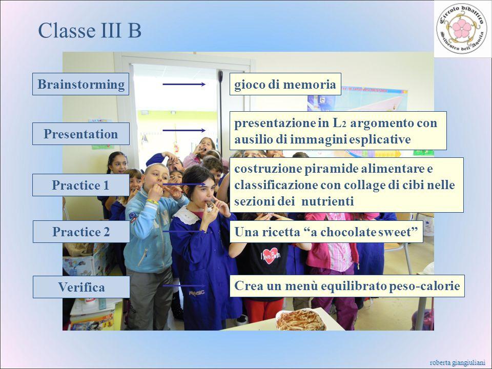 Classe III B Brainstorming gioco di memoria