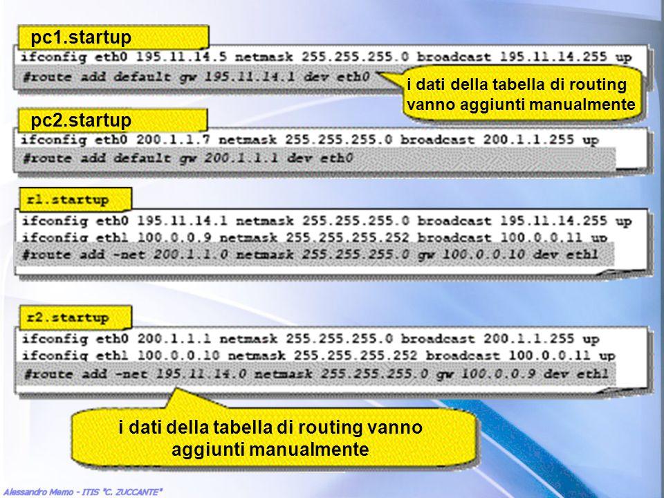 i dati della tabella di routing vanno aggiunti manualmente