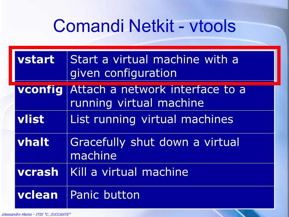 Comandi Netkit - vtools