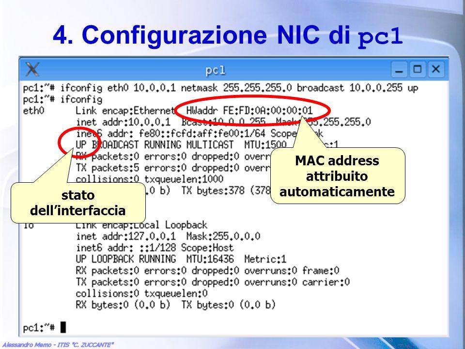 4. Configurazione NIC di pc1