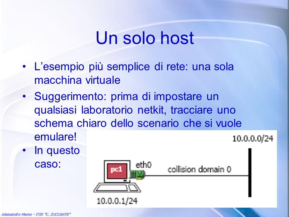 Un solo host L'esempio più semplice di rete: una sola macchina virtuale.