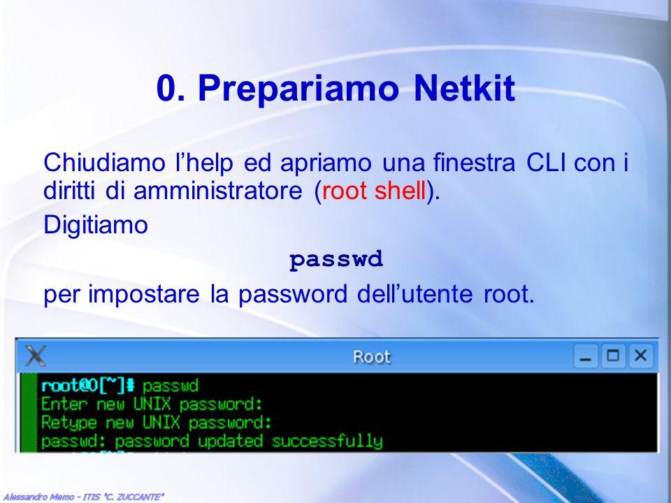 0. Prepariamo NetkitChiudiamo l'help ed apriamo una finestra CLI con i diritti di amministratore (root shell).