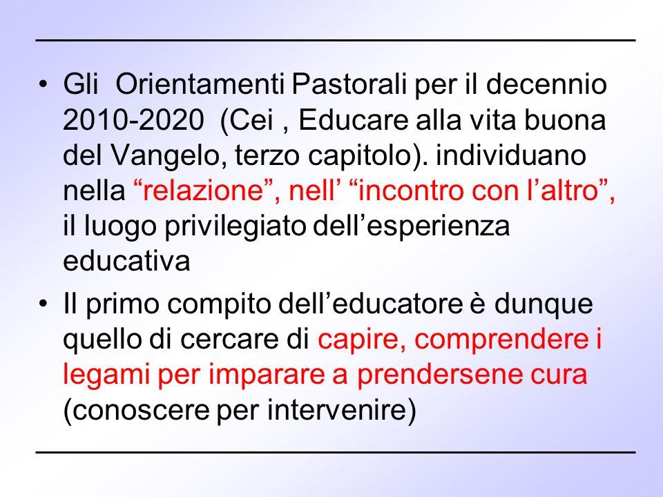 Gli Orientamenti Pastorali per il decennio 2010-2020 (Cei , Educare alla vita buona del Vangelo, terzo capitolo). individuano nella relazione , nell' incontro con l'altro , il luogo privilegiato dell'esperienza educativa